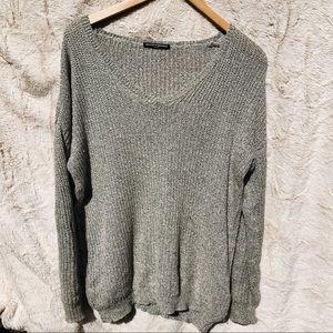 Brandy Melville Gray Knit Sweater Wide V-neck